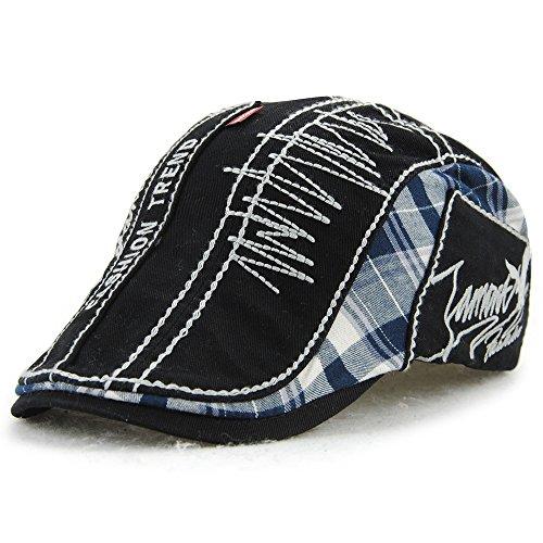 FayTop Men's Cotton Flat Cap Newsboy Ivy Irish Cabbie Scally Cap Cabbie Driving Caps Hats E90-black