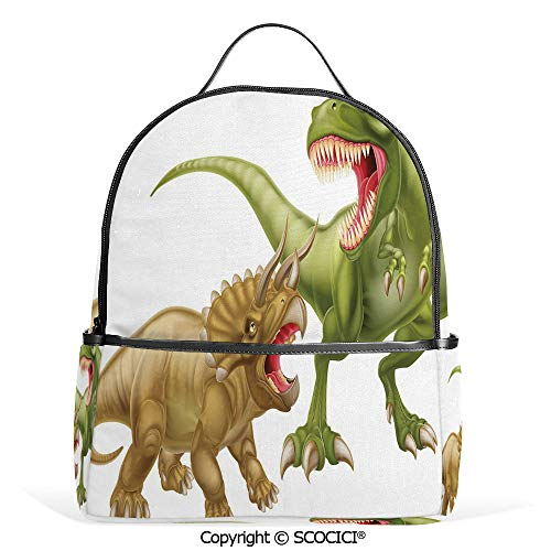 (Lightweight Chic Bookbag T Rex Versus Triceratops Fighting Scaring Each Other Wild Reptiles Decorative,Green Pink Light Brown,Satchel Travel Bag Daypack)