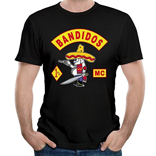 KHEN Bandidos Motorcycle Club Logo MC Member T-shirt Mens Black (Johnson Motors Xxl)