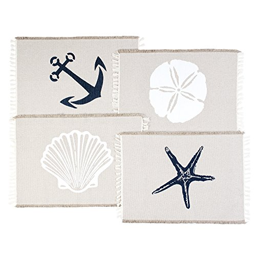 Table Placemats Set By Living Fashions: 4 Beach Themed Nautical Kitchen Place Mats For The Dining Table Made With 100% Washable Cotton - Seashell, Sand Dollar, Starfish & Anchor Designs With Fringes