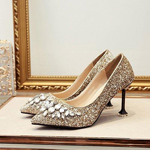 ZHZNVX La Nueva Versión de la High-Heel Shoes Bien con Zapatos de Boda Zapatos de Cristal Noche Punta Singles Femeninos Zapatos, Oro 39