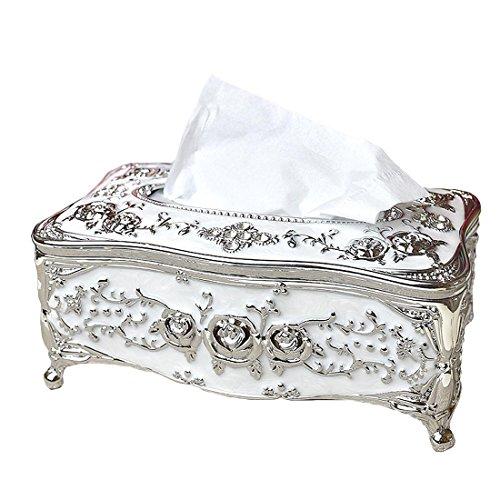 lovetoyou Bling Rhinestone Tissue Box Holder,Luxurious European Style Rose Tissue Box Cover for Bedroom,Office,Bathroom,Home,Travel,Restaurant Golden Red