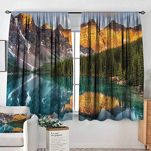 (Nature Window Curtain Fabric Moraine Lake Canadian Mountain Range with Creek Pine Forest Mother Earth Scenery Door Curtain Blackout 55