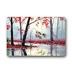Custom It autumn river trees red Rectangular Decorative non slip Doormat 15.7 by 23.6 by 3/16-Inch
