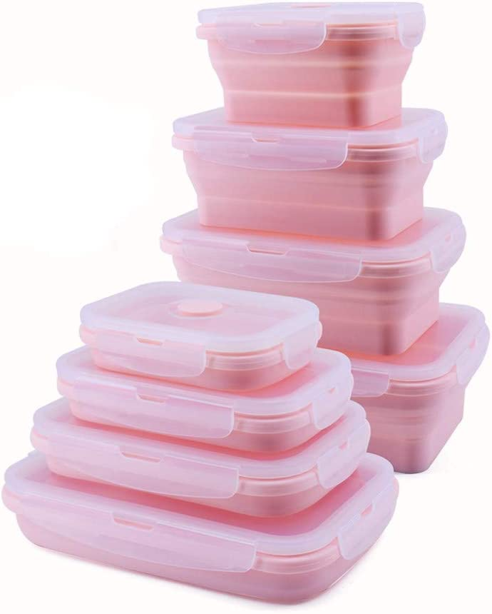 4 PCS Collapsible Silicone Food Containers Storage Lunch Bento Box with Lid BPA Free for Camping, Hiking (PINK, 4PC(350ml+500ml+800ml+1200ml))