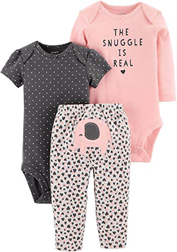 (Carter's Baby Girls 3-pc. The Snuggle is Real Layette Set (Peach, 6 Months))