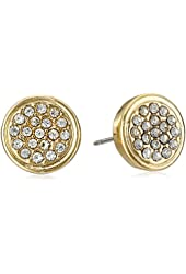 Kenneth Cole New York Gold Pave Round Stud Earrings