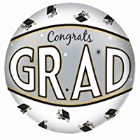 "Grad Autograph Beach Ball Graduation Party Keepsake Favour Supply, White, Gold and Silver, Vinyl, 22""."