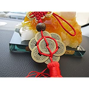 Chinese Feng Shui Product Hanging Ornaments Handmade Money Coins with Red Enless Chinese Knot for Wealth Protection and Success 2 Set of 6 Coins by Novelty House