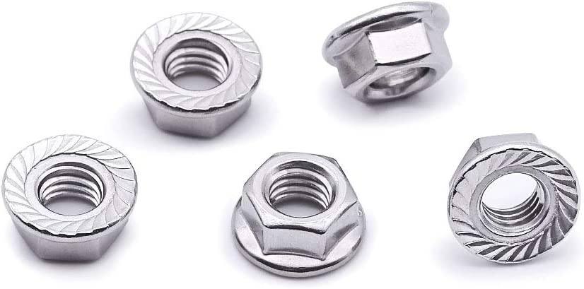 M3 Serrated Flange Hex Lock Nuts 100 PCS by Eastlo Fastener Bright Finish,304 Stainless Steel 18-8