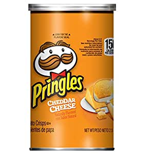 Pringles Potato Crisps Chips, Cheddar Cheese Flavored, Grab and Go, Bulk Size, 30 oz (Pack of 12, 2.5 oz Cans)