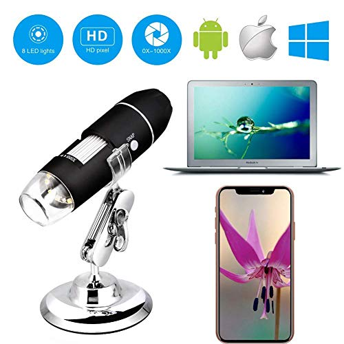 🥇 Wireless Digital WiFi USB Microscope 50X – 1000X Magnification Mini Handheld Endoscope Inspection Camera with 8 LEDs with Metal Stand