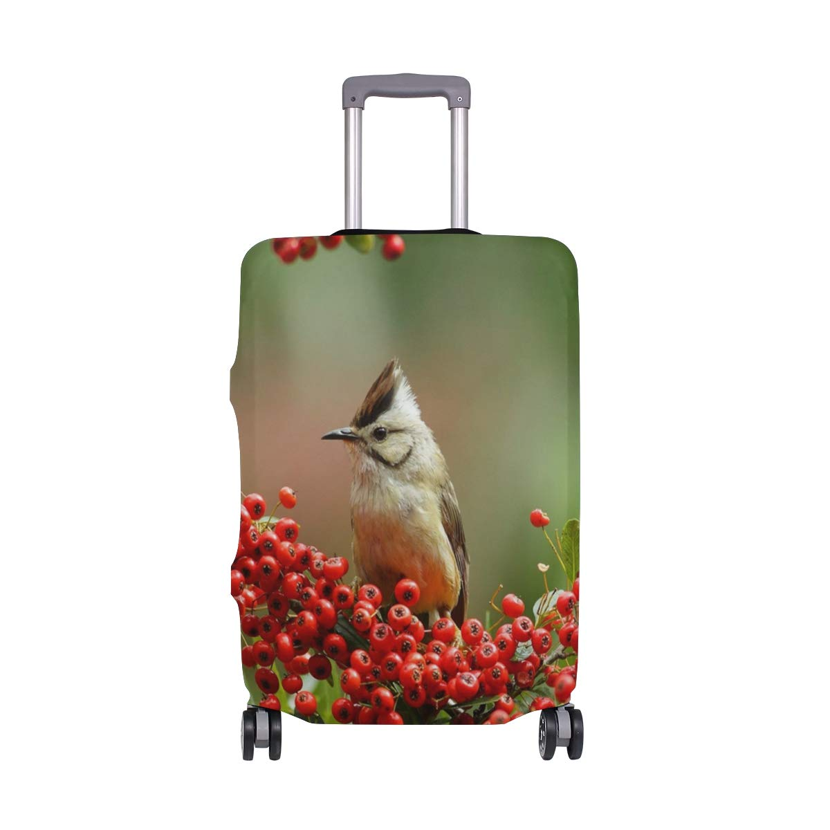 Branch Red Berry Bird Green Background suitcase cover elastic suitcase cover zipper luggage case removable cleaning suitable for 29-32 trunk cover