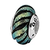 Sterling Silver Reflections Green Swirl Dichroic Glass Bead