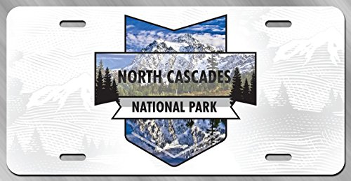 DHDM North Cascades National Park License Plate Tag Vanity Novelty Metal | UV Printed Metal | 6-Inches By 12-Inches | Car Truck RV Trailer Wall Shop Man Cave | - Cascade Silhouette
