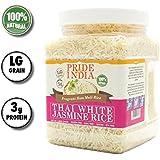 Pride Of India - Thai White Jasmine Rice - Fragrant Hom Mali Rice, 1.5 Pound Jar