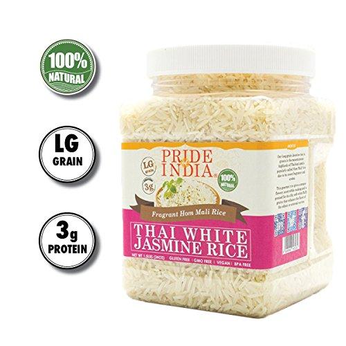 Pride Of India - Thai White Jasmine Rice - Fragrant Hom Mali Rice, 1.5 Pound - White Jasmine Rice