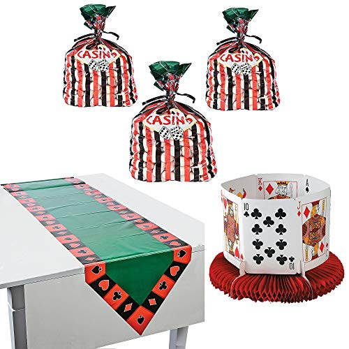 Fun Express Casino Party Decor Bundle | Centerpiece, Cellophane Bags, Table Runner | Great for Dress Up Birthday Party, Poker Game Night, Las Vegas Night, Bachelor's Party