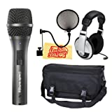 Audio-Technica AT2005USB Cardioid Dynamic USB/XLR Microphone Bundle with Mic Bag, Headphones, Pop Filter, and Polishing Cloth