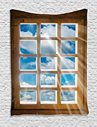 Ambesonne House Decor Collection, Wooden Window with Sunbeams Shining from View of Sky and Clouds Image Pattern, Bedroom Living Room Dorm Wall Hanging Tapestry, Blue Caramel