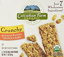Cascadian Farm Crunchy Peanut Butter Granola Bars, 7.1 Ounce Box (Pack of 4)