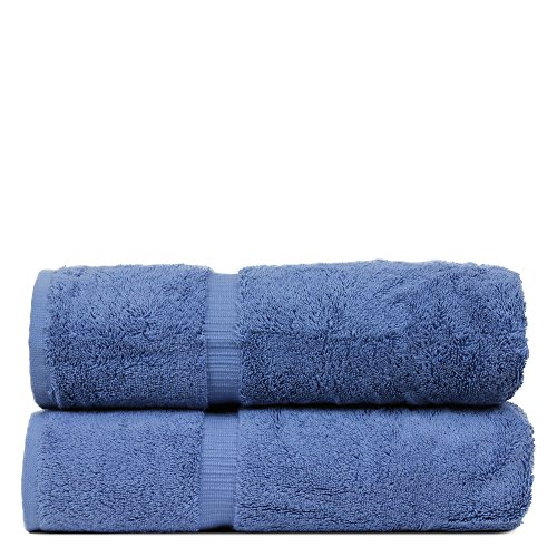 BC BARE COTTON Luxury Hotel & Spa Towel Turkish Cotton Bath Towels – Wedgewood – Dobby Border – Set of 2