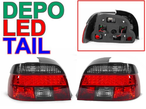 DEPO Euro Crystal Red/Smoke LED Tail Lights FIT 1997-2000 BMW E39 5 Series 4D Sedan