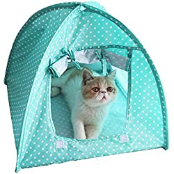 Kalining Cute Polka Dots Foldable Pet Cat Tent House Camp Water Resistant, Portable Pet Tents & Houses for Dog(Puppy) & Cat(Green)