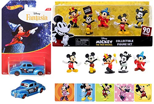 Magic Hot Wheels Disney Pack Mickey Mouse Character Series Exclusive Fantasia Cartoon Car & Figure Set 5 Pack Mouseketeer, Technicolor, Sorcerer's Apprentice, Clubhouse & Steamboat Willie + ()
