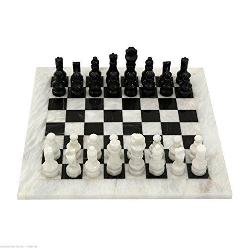 - Scacchiera Italian Black and White Marble Classic Chessboard Handmade Table Chess Set with Pawns 20x20cm 8in