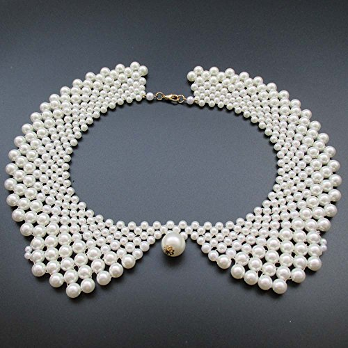 Handmade Faux Pearls Detachable False Collar Necklace Women Clothing DIY Craft Supply In White