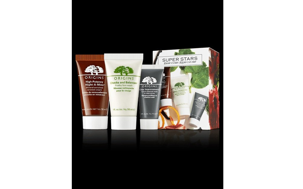 Origins Super Stars Mini Travel Set: High-Potency Night-a-Mins Cream + Checks and Balances Frothy Face Wash + Clear Improvement Mask by Origins