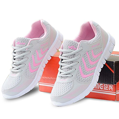 Fashion Brand Best Show Women's Mesh Breathable Light Weight Running Shoes (8 B(M) US, Pink)