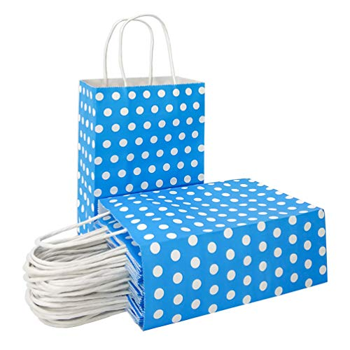 ADIDO EVA Paper Gift Bags Blue with White Dots Kraft Paper Bags with Handles Goodie Bags for Kid's Birthday Wedding Holiday Party Favor Bags(Blue 8.2 x 6 x 3.1 in 25 PCS) Blue Polka Dot Gift