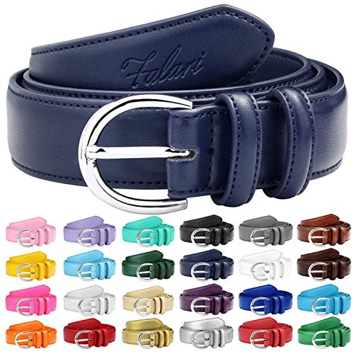 Falari Women Genuine Leather Belt Fashion Dress Belt With Single Prong Buckle 6028-Navy-M