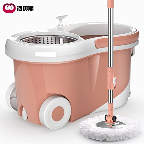 New 360 Degree Magic Spin Mop Wheels Stainless Steel Spin-Dry Bucket,Rose Gold + 4 MOP heads by Huihong