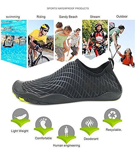Kitleler Wasser Schuhe Für Männer Frauen Haus Hausschuhe Barfuß Quick-Dry Aqua Mit Drainage Loch Für Yoga Schwimmen Dunkelschwarz