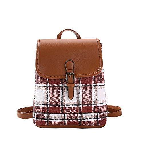 Zaino Bag Semplice Plaid Piccola Rosso Meaeo Quadrato Tela Rete Di x4S7wqw