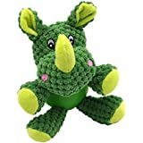 EETOYS Rhino Dog Toys, Plush Toys,Squeaky Toys with Chew Guard Rubber Ball Interactive Dog Toys