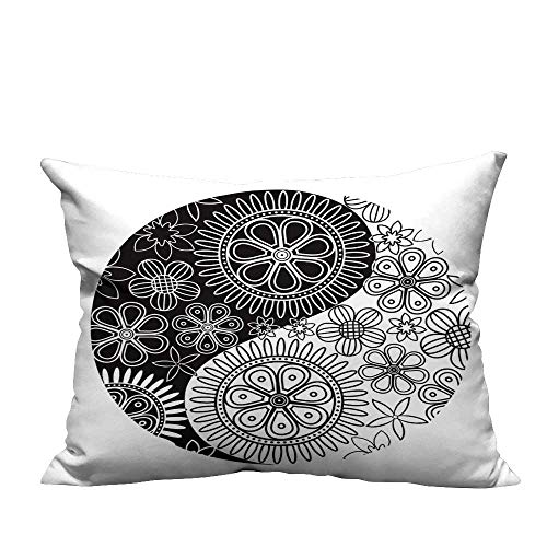 YouXianHome Home Decor Pillowcase Yin Yang Symbol with Floral Ornament Durable Polyester Fabric(Double-Sided Printing) 13.5x19 inch