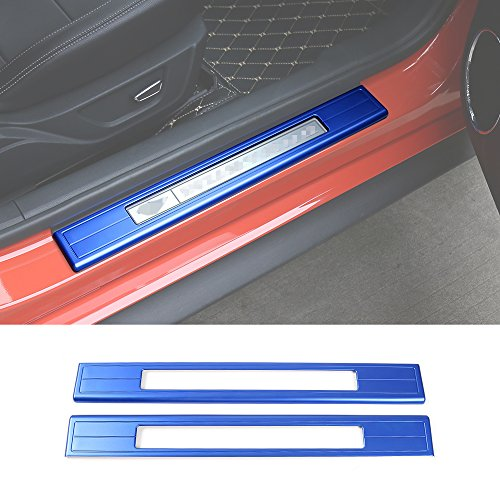 Aluminum alloy hollow out Pedal door sill protecter Guard pedal for Ford Mustang 2015 U (Blue) Mustang Door Sill Plates