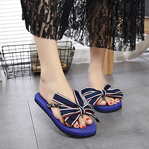 Été Sandals Tongs Non Plat Pantoufles Bleu Woman Extérieure Wedge Plage Plate Clip Chaussures forme slip Toe De Bow Byste HWXBC1nOq