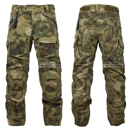 Tactical Combat Pant Hiking Hunting Airsoft SWAT Military Camo Army Trousers Wearproof Ripstop Pants with Knee Pads (A-TACS FG, 36)