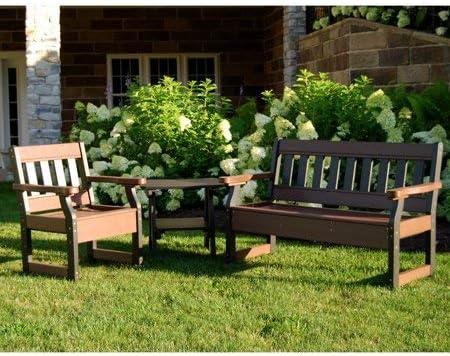Silla de jardín de plástico reciclado, material reciclado con protección UV, respaldo de lamas verticales y perfil grueso, jardín, ideal para zonas de asientos al aire libre, opciones de acabado + guía