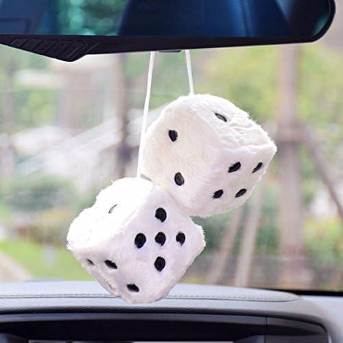 Car Soft Spotty Furry Fluffy Hanging Mirror Dice Set Novetly Accessory Black