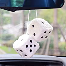 FineInno Hanging Fuzzy Dice Car Pendant with Sucker Ornament Decoration Home Decoration (Plush White)