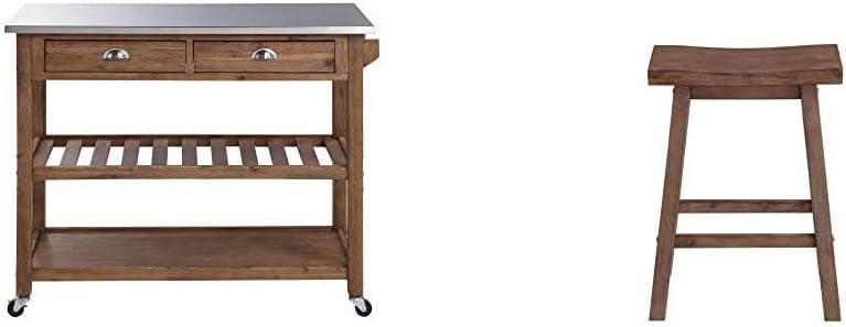 Boraam 98520 Sonoma Kitchen Cart, Barnwood Wire-Brush & Sonoma Counter Height Saddle Stool, 24-Inch, 1-Pack, Barnwood Wire-Brush