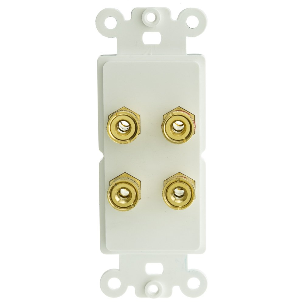 ACL Decora 4 Banana Plug Binding Posts For 2 Speakers Wall Plate Insert, White, 50 Pack by ACL