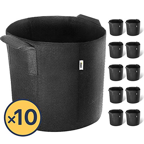 iPower 5-Gallon 10-Pack Grow Bags Fabric Aeration Pots Container with Strap Handles for Nursery Garden and Planting(Black) by iPower