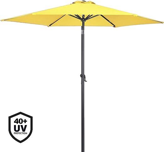 Deuba Sombrilla Amarillo con Palo Aluminio Ø 300cm con manivela protección Rayos UV 40+ Impermeable Parasol jardín Playa: Amazon.es: Jardín
